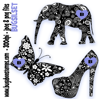 digi stamps,silhouette set, Bugaboo Stamps