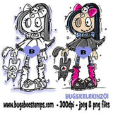 "A Cute Goth ""Skelekinz"" Girl Image Images, Digi stamps, clip art, coloring pages and illustrations from Bugaboo Stamps"