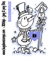 Snowman Bird House Digi Stamp  Images, Digi stamps, clip art, coloring pages and illustrations from Bugaboo Stamps