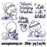Another Cute Snowman Digi Stamp th Sentiments Images, Digi stamps, clip art, coloring pages and illustrations from Bugaboo Stamps
