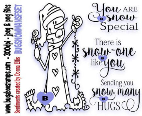 Snowman and sentiments Digi Stamps Image Set Images, Digi stamps, clip art, coloring pages and illustrations from Bugaboo Stamps
