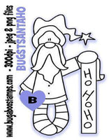 Santa Ho HO HO Stocking Digi Stamp  Images, Digi stamps, clip art, coloring pages and illustrations from Bugaboo Stamps