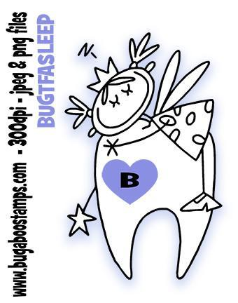 Tooth fairy digi stamp, clip art, illustration from Bugaboo Stamps
