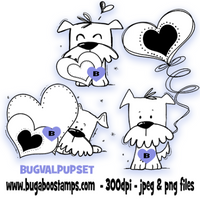 Digi Sets,Digi stamps,valentine puppy dog set,Bugaboo Stamps,
