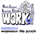 Stella Work word art image. Weekly overload recreation killer Digi stamps, clip art, illustrations from Bugaboo Stamps