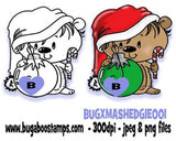 A Cute Christmas Hedgehog Digi Stamp  Images, Digi stamps, clip art, coloring pages and illustrations from Bugaboo Stamps