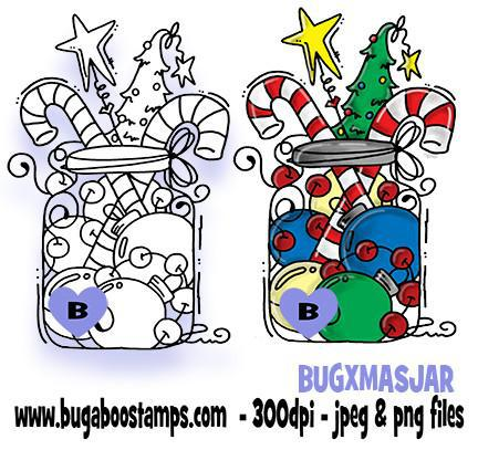 Christmas Jar Digi Stamp  Images, Digi stamps, clip art, coloring pages and illustrations from Bugaboo Stamps