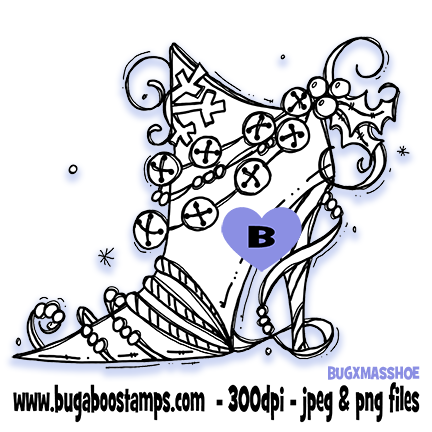 A cute Christmas shoe image  Digi stamps, clip art, coloring pages and illustrations from Bugaboo Stamps