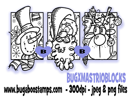 Christmas Blocks image with Santa, snowman and Reindeer.  Digi stamps, clip art, coloring pages and illustrations from Bugaboo Stamps