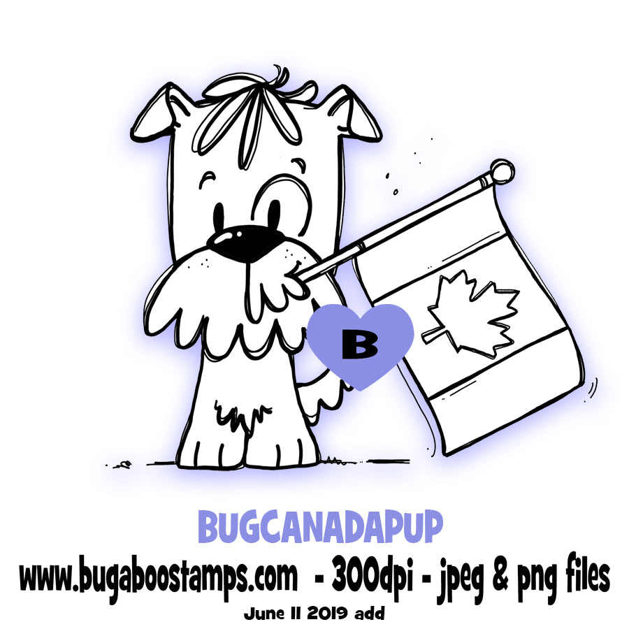 Canada Flag Puppy Bugaboo Digi Stamp illustrations