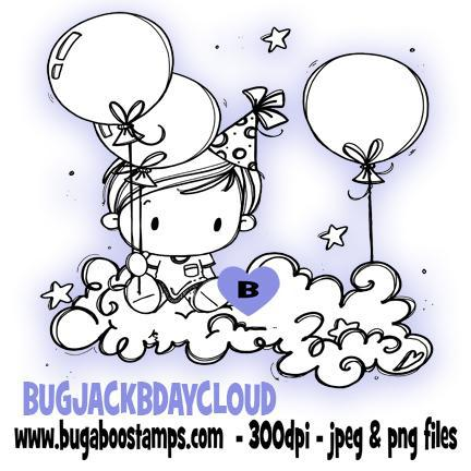 digi stamps,clipart,Kidz Jack Birthday Cloud image,Bugaboo Stamps