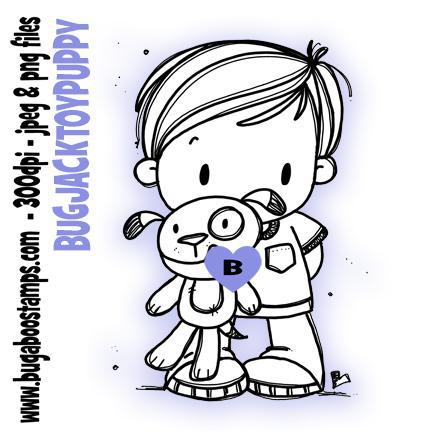 Digi Stamps,Clipart,Kidz Jack Toy Puppy image,Bugaboo Stamps