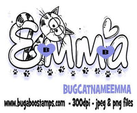 Cat Name Emma Images, Digi stamps, clip art, coloring pages and illustrations from Bugaboo Stamps