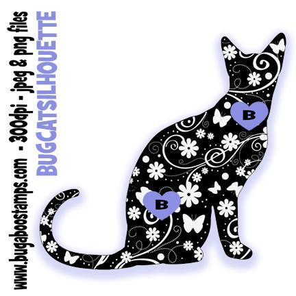 Cat Silhouette Digi stamps, clip art, coloring pages and illustrations from Bugaboo Stamps