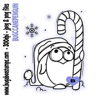 digi stamps,candy cane penguin winter bird,bugaboo stamps