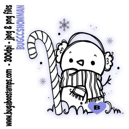 digi stamps,candy cane snowman,bugaboo stamps