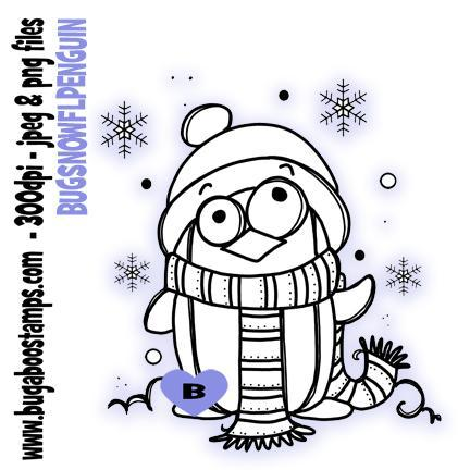 digi stamps,snowflake penguin winter bird,bugaboo stamps