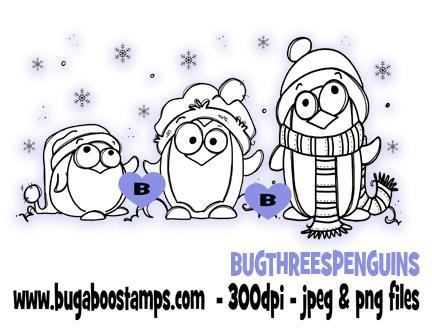 digi stamps,three winter penguins,bugaboo stamps