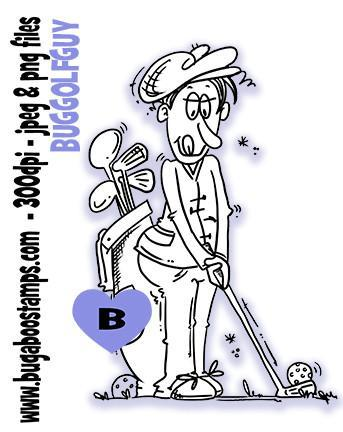 Guy Golfing Digi Stamp  Images, Digi stamps, clip art, coloring pages and illustrations from Bugaboo Stamps