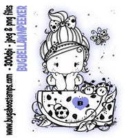 Kids Bella Watermelon Peeker Girl digi stamps and clip art from Bugaboo Stamps