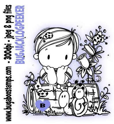 Kids Jack Log Peeker Boy digi stamps and clip art from Bugaboo Stamps