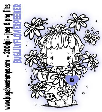 Kids lILY flower pot peeker digi stamps and clip art from Bugaboo Stamps