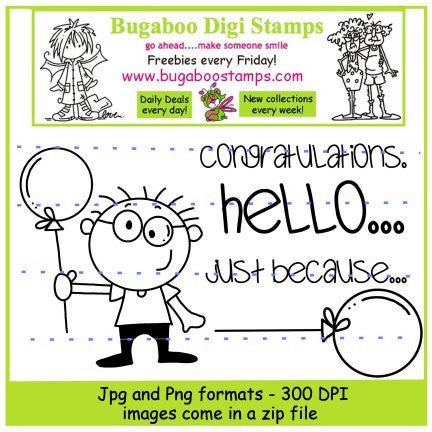 Digi stamps,boy balloon,Bugaboo Stamps,