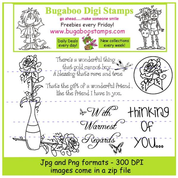 Digi stamps ,Digi stamp sets,Mini Set Roses,Bugaboo Stamps,