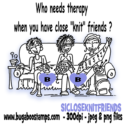 Friends knitting image.  Digi stamps, clip art, illustrations from Bugaboo Stamps