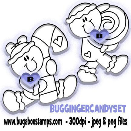 Christmas Gingerbread Candy Set  digi stamps illustrations and clip art from Bugaboo Stamps