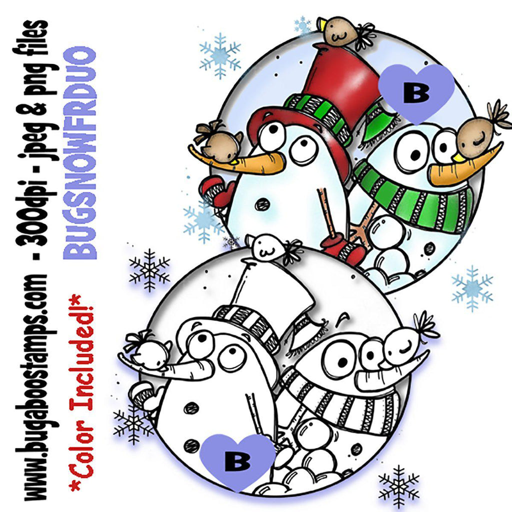 Goofy Snowmen and Friends Duo Digi Stamp  Images, Digi stamps, clip art, coloring pages and illustrations from Bugaboo Stamps