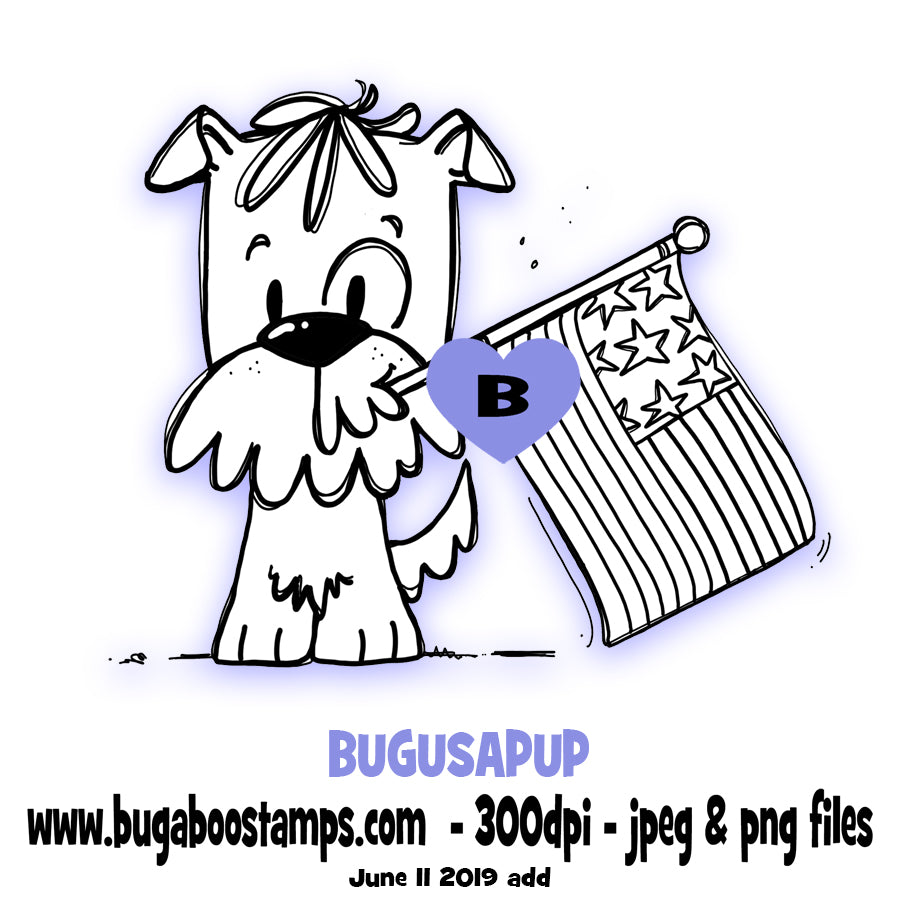 USA Flag Puppy Bugaboo Digi Stamp illustrations