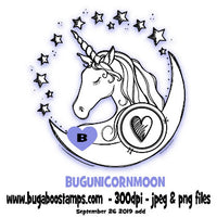 Unicorn Moon circular images, clipart and illustrations from Bugaboo Digi STamps