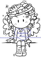Digi stamps, angel girl sitter,Bugaboo Stamps,