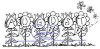 August FLOWER word Digi Stamps and Images. www.bugaboostamps.com