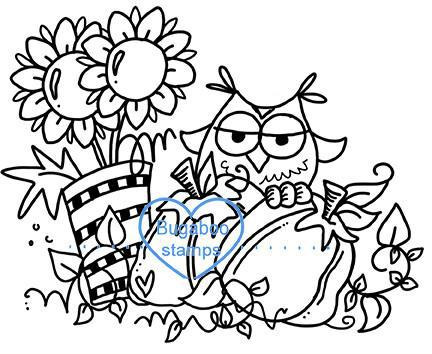 Digi stamps,autumn owl,Bugaboo Stamps,