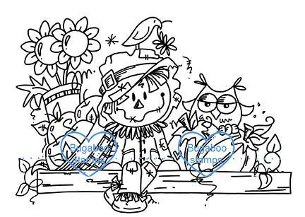 Digi stamps,autumn scarecrow,Bugaboo Stamps,