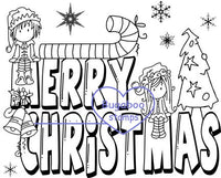 Digi stamps/word art, Ava and Deacon Merry Christmas,Bugaboo Stamps,