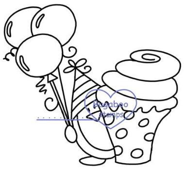 Digi stamps,Birthday Penguin cupcake,Bugaboo Stamps,