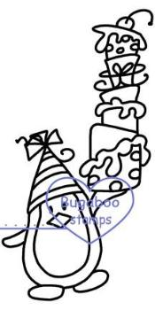 Digi stamps,Birthday Penguin tall cake,Bugaboo Stamps,