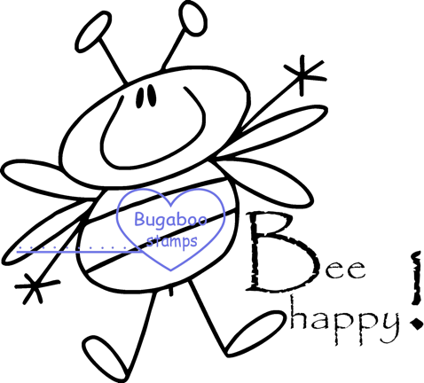Digi stamps,Bees - Be Happy,Bugaboo Stamps,