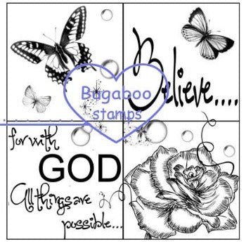 4 square Believe Image with roses and butterflies  Digi stamps, clip art, illustrations from Bugaboo Stamps