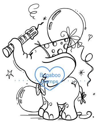 Adorable Birthday Elephant with balloons Digi Stamp Images, Digi stamps, clip art, coloring pages and illustrations from Bugaboo Stamps