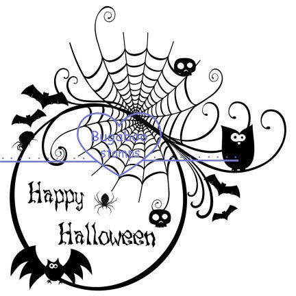 Digi Singles,Silhouette - Happy Halloween circle,Bugaboo Stamps,
