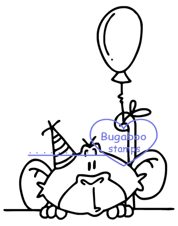 cute birthday monkey image Digi stamps, clip art, illustrations from Bugaboo Stamps