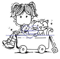 Digi Singles,Brat - girl and kitty wagon,Bugaboo Stamps,