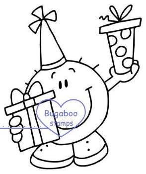 Digi stamps,Bubbles monster Birthday present,Bugaboo Stamps,