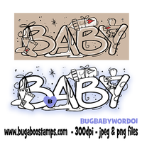 baby word image.  Digi stamps, clip art, illustrations from Bugaboo Stamps