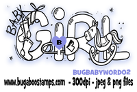 baby girl word image.  Digi stamps, clip art, illustrations from Bugaboo Stamps