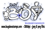 baby boy word image.  Digi stamps, clip art, illustrations from Bugaboo Stamps